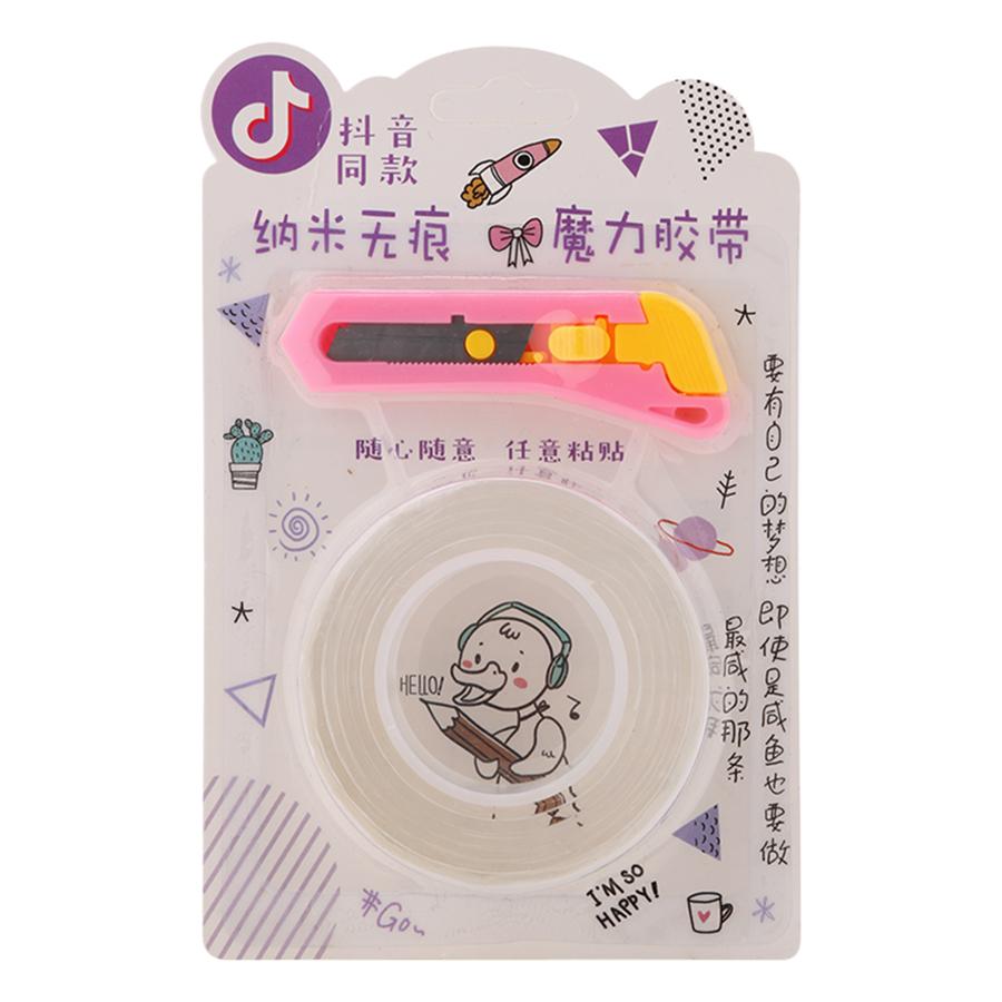 Băng Keo 2 Mặt Trong Suốt Siêu Dính (1m x 2mm) - Tặng Kèm Dao Rọc Giấy - Màu Ngẫu Nhiên
