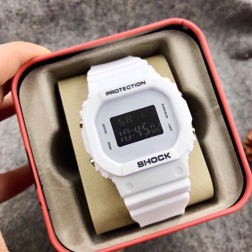 Đồng hồ điện tử thời trang nam nữ Shock S1, mặt vuông dây silicon, có đèn và báo thức.