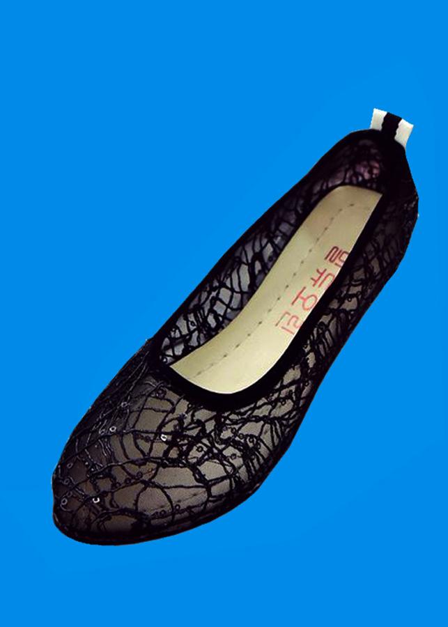 Giày búp bê lưới cao su thoáng mát siêu bền-305 Đen