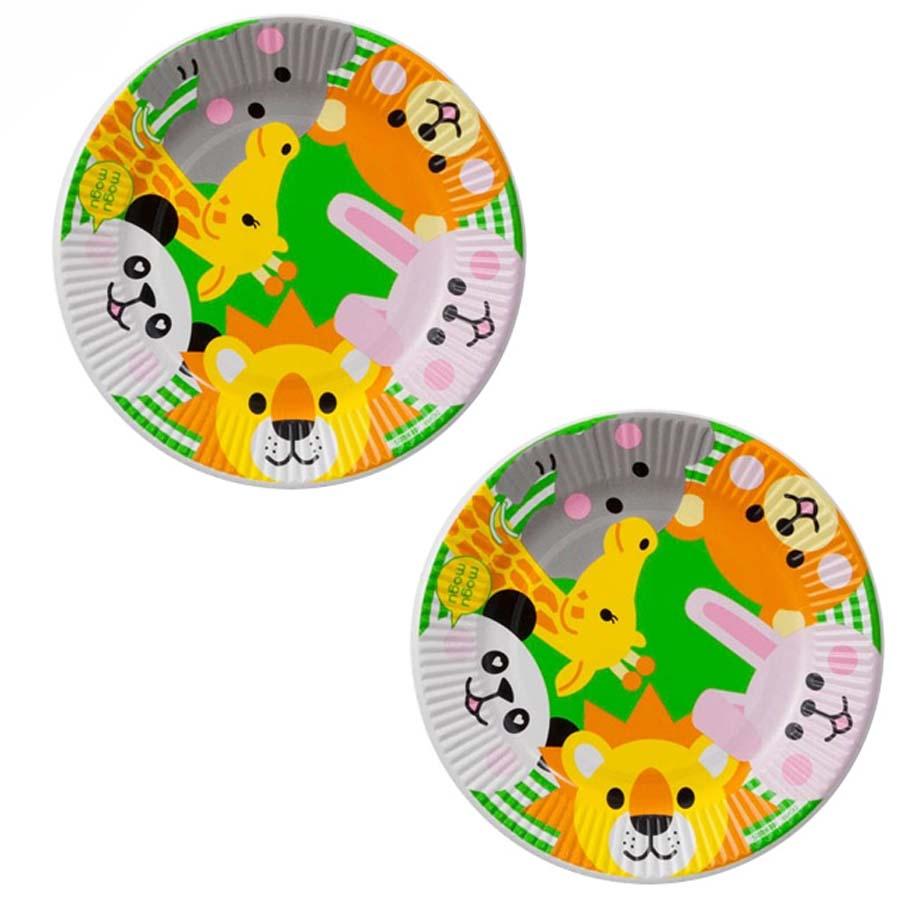 Bộ 2 đĩa giấy dùng một lần hình động vật (bộ 6 đĩa) - Hàng nội địa Nhật