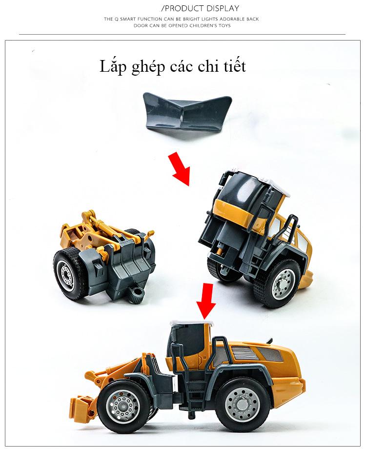 Xe mô hình đồ chơi xe ủi DLX  tháo rời được các chi tiết chất liệu nhựa ABS an toàn, tỷ lệ lớn (hàng nhập khẩu)