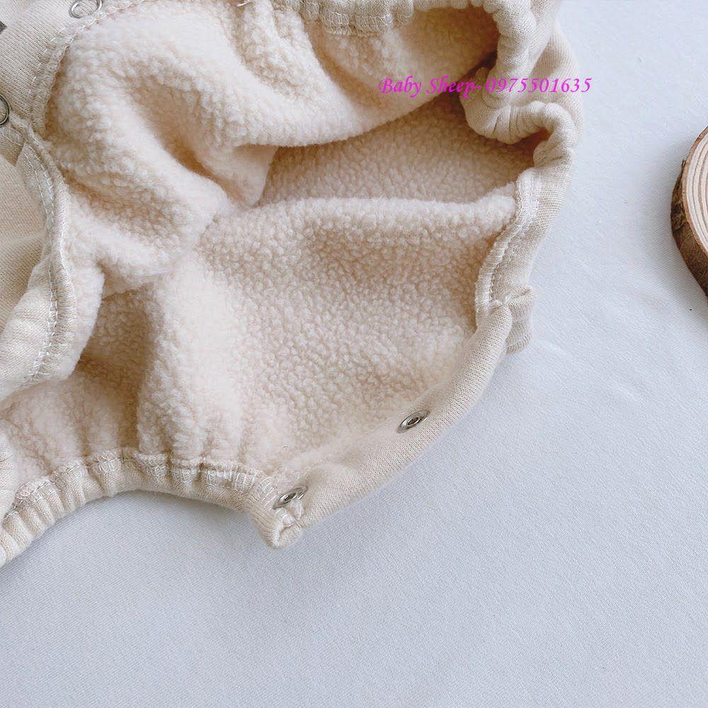 (TẶNG KÈM MŨ) Body nỉ lót lông in hình gấu con kèm mũ cho bé trai bé gái hàng dày cao cấp lót bông