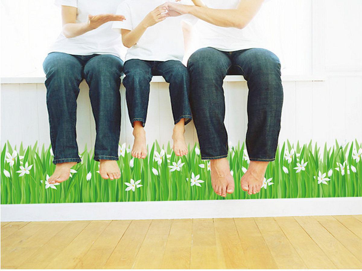 Decal dán tường chân rào cỏ hoa trắng sk7044