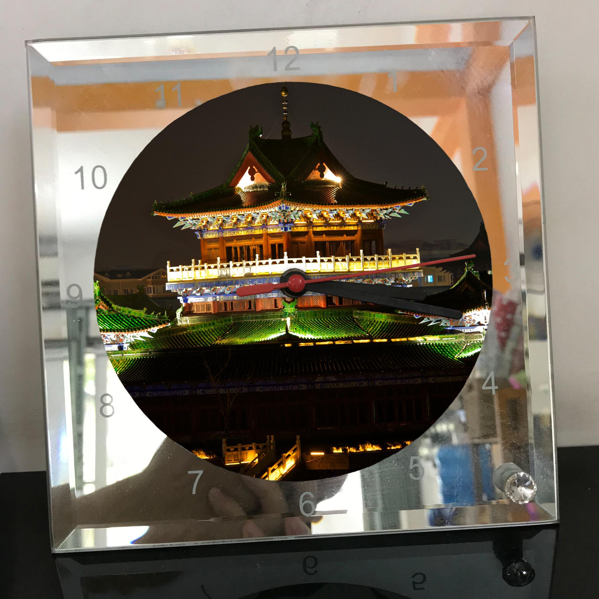 Đồng hồ thủy tinh vuông 20x20 in hình Temple - đền thờ (52) . Đồng hồ thủy tinh để bàn trang trí đẹp chủ đề tôn giáo