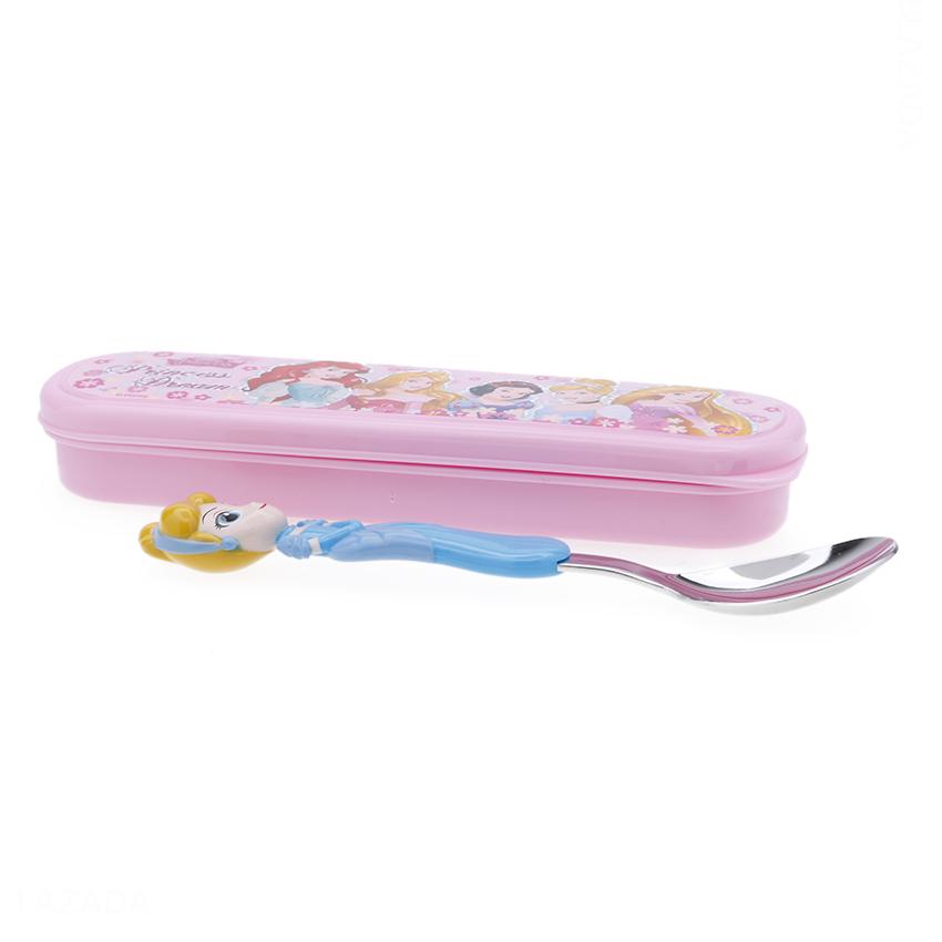 Set muỗng ăn inox kèm hộp đựng hình công chúa lọ lem Cinderella nổi 3D cho trẻ em - DP2133