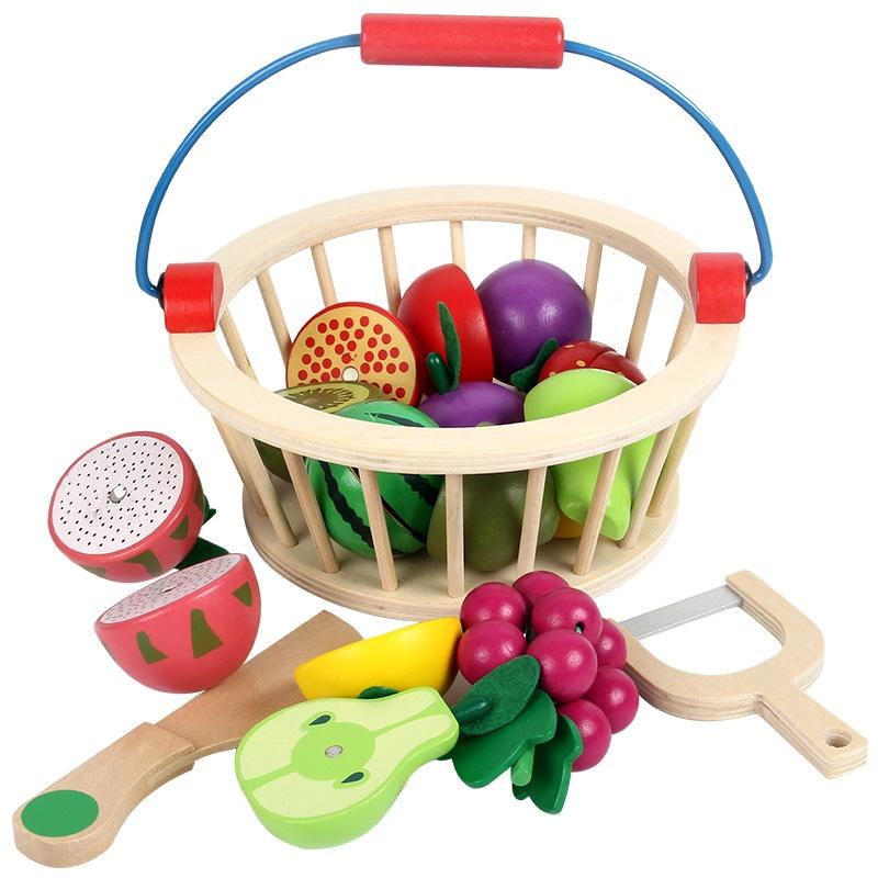 Giỏ đồ chơi cắt hoa quả bằng gỗ cho bé