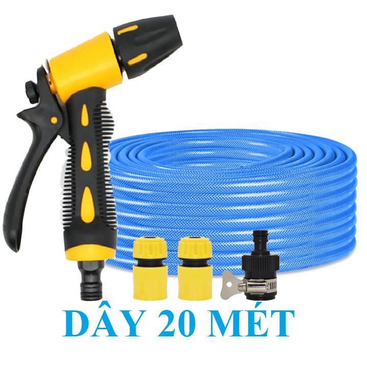 Bộ dây vòi xịt nước rửa xe, tưới cây . tăng áp 3 lần, loại 20m 206236 đầu đồng, cút, + tặng đai