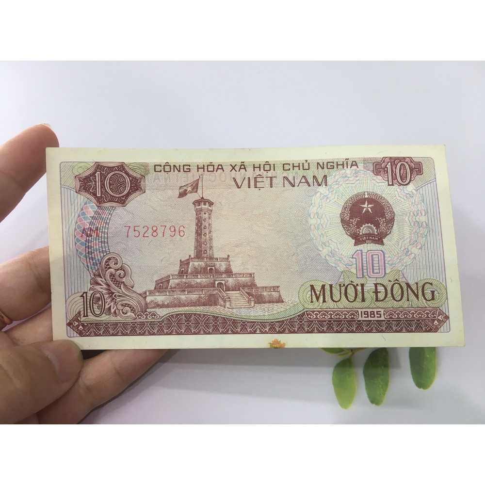 10 đồng 1985 cột cờ Hà Nội, tiền đẹp, tặng phơi nylon bảo vệ