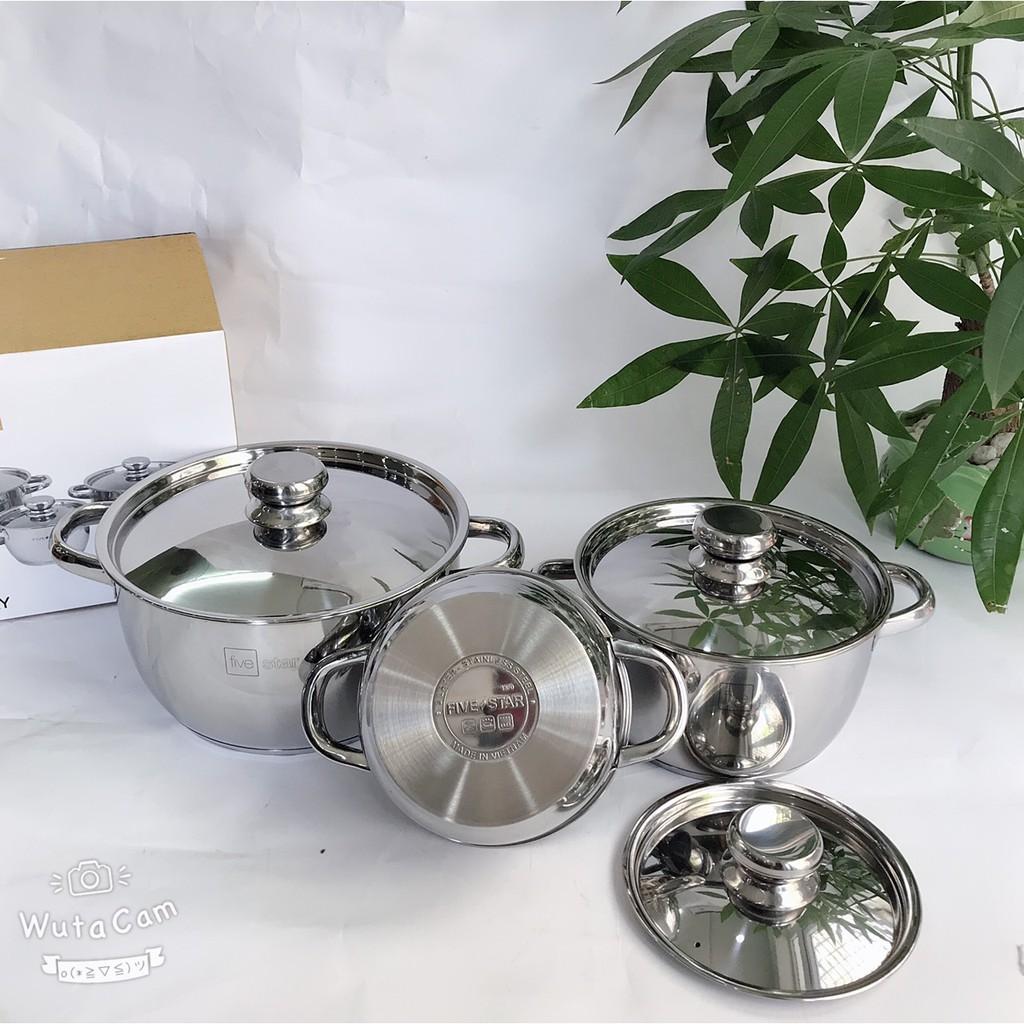 Bộ nồi inox 430 Fivestar Standard nắp inox FS-B3010 (Kích thước 16cm - 20cm - 24cm)