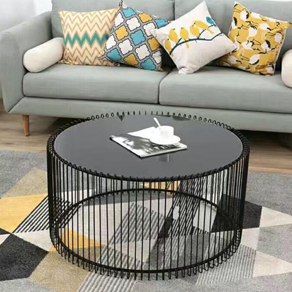 Bàn sofa KNTSG kt 65x45 mặt kính đen, khung sắt sơn tĩnh điện đen BTS-02