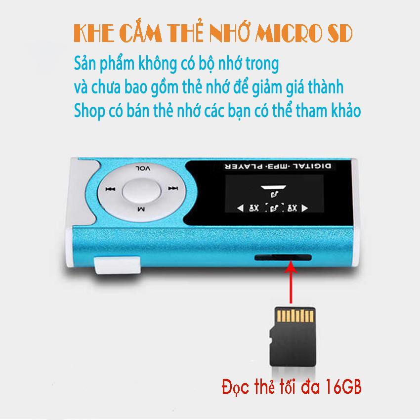 Máy Nghe Nhạc LCD có loa kẹp gắn quần áo kèm tai nghe và dây sạc