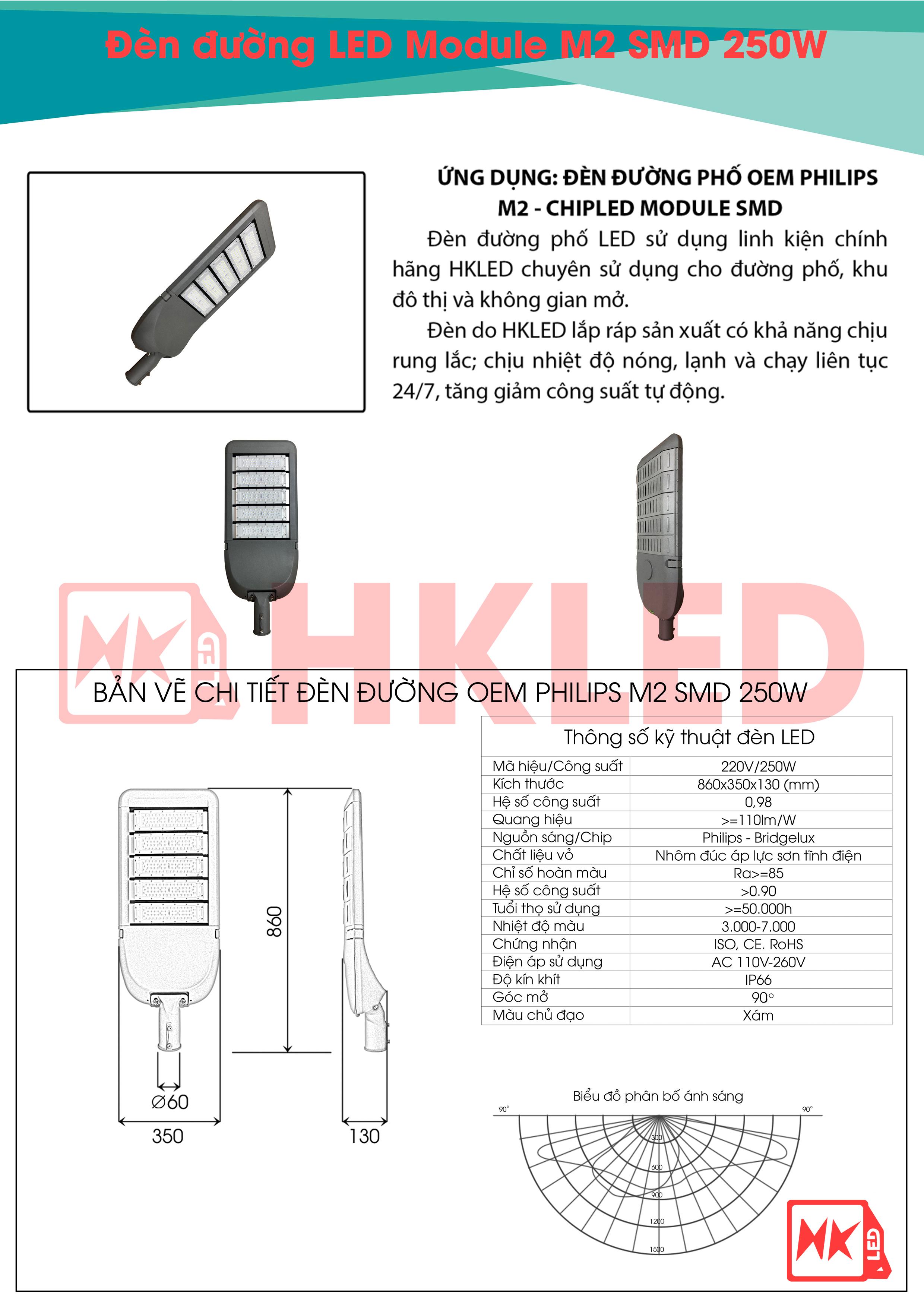HKLED - Đèn đường phố OEM Philips Module M2 Driver DONE công suất 250W - DDM02M250