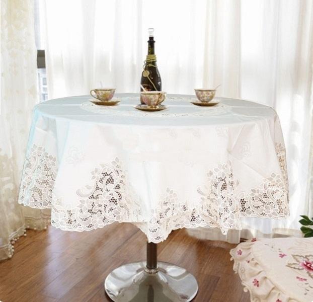 Khăn trải bàn tròn 160cm Towa Nhật Bản màu Trắng