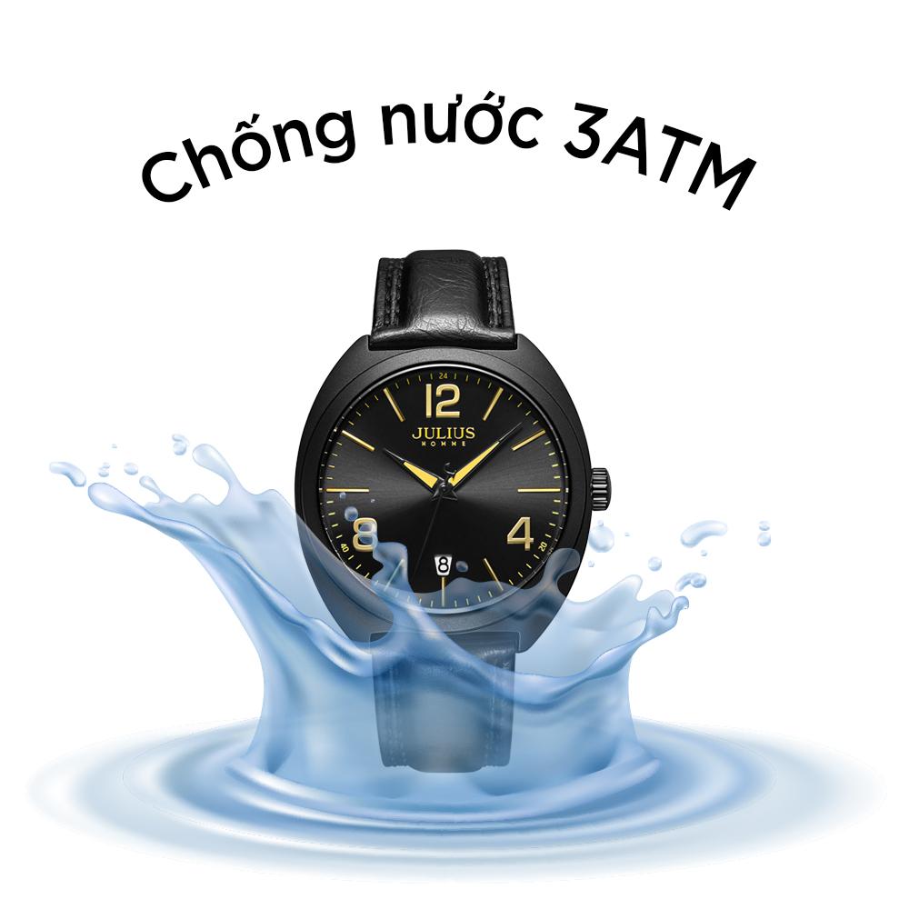 Đồng Hồ Nam Julius Homme Hàn Quốc JAH122D Dây Da Có Lịch - Sang Trọng
