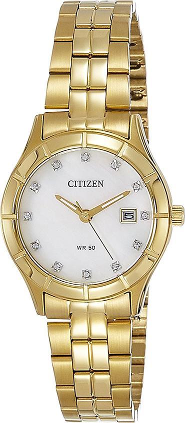 Đồng Hồ Citizen Nữ Đính Đá Swarovski Dây Kim Loại Pin-Quartz EU6042-57D - Mặt Xà Cừ (28mm)
