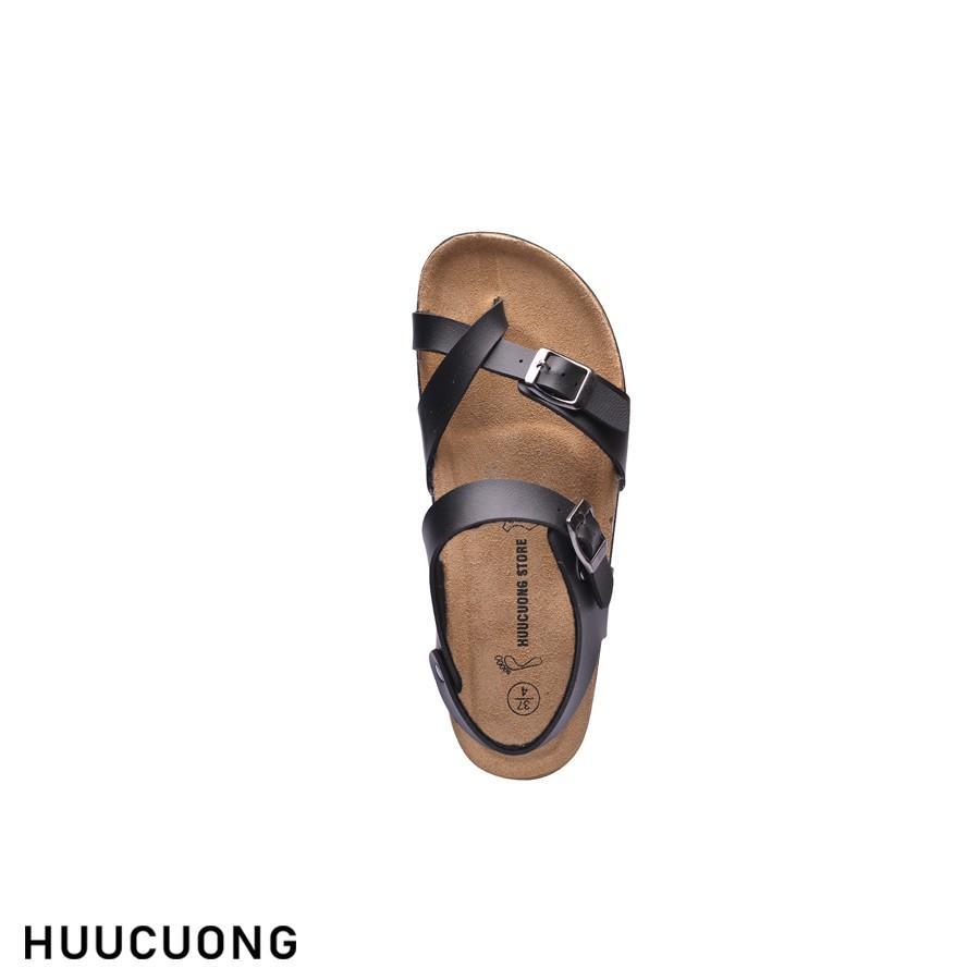 Sandal unisex HuuCuong xỏ ngón đen đế trấu