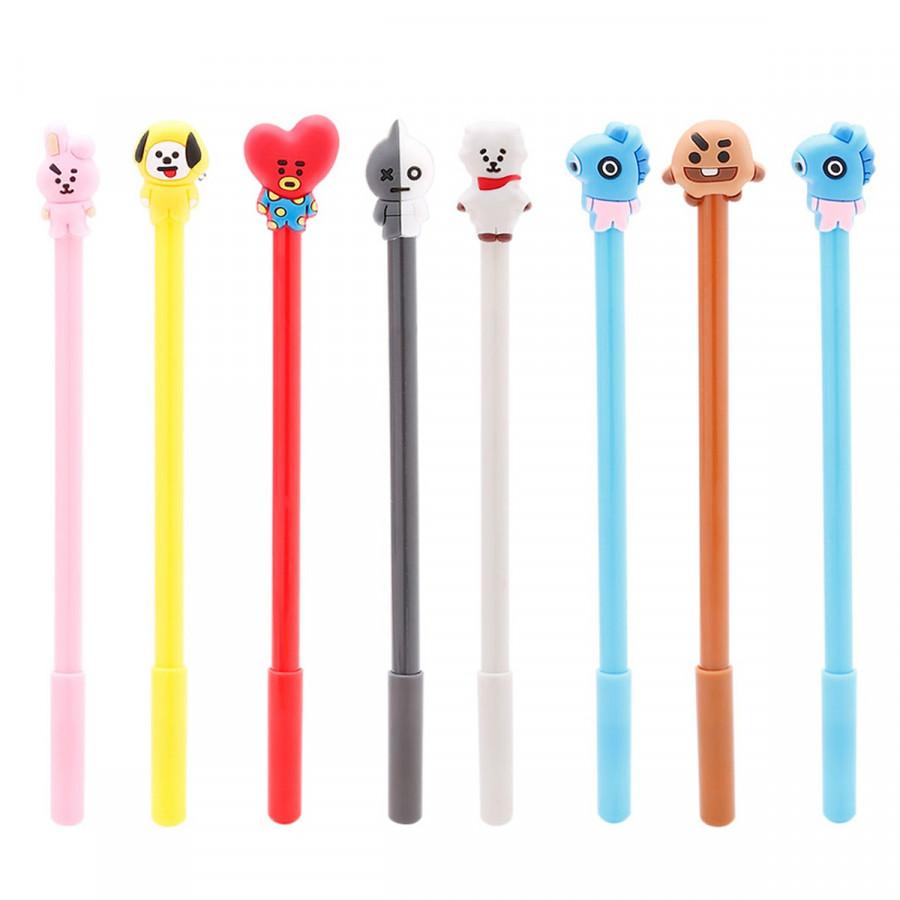 Bút mực xanh BTSchibi, bộ 8 bút idol BTS, bộ bút gắn những bé chibi dễ thương đáng yêu