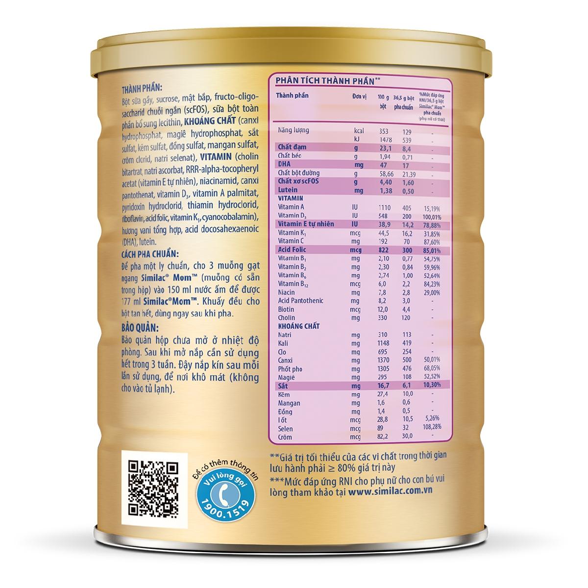 Sữa Bột Similac Mom Hương Vani (900g) - Tặng 1 Bộ Gối Chặn Em Bé