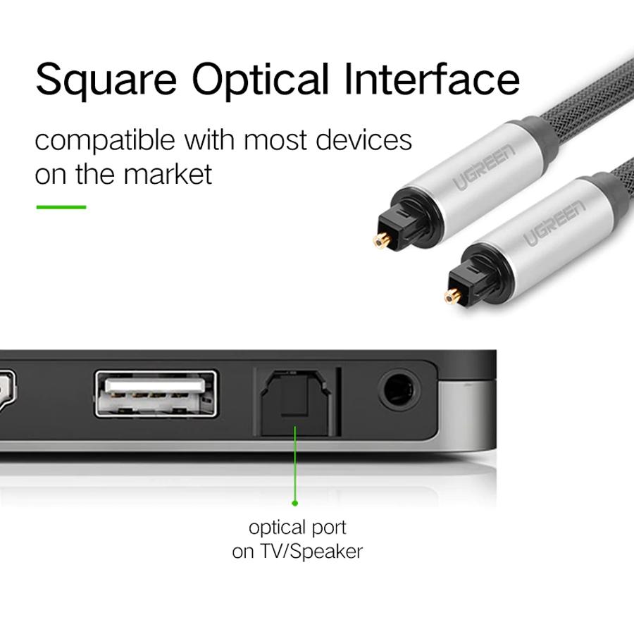 Cáp Audio quang Toslink dài 1.5M Ugreen 10542 vỏ nhôm - Hàng Chính Hãng