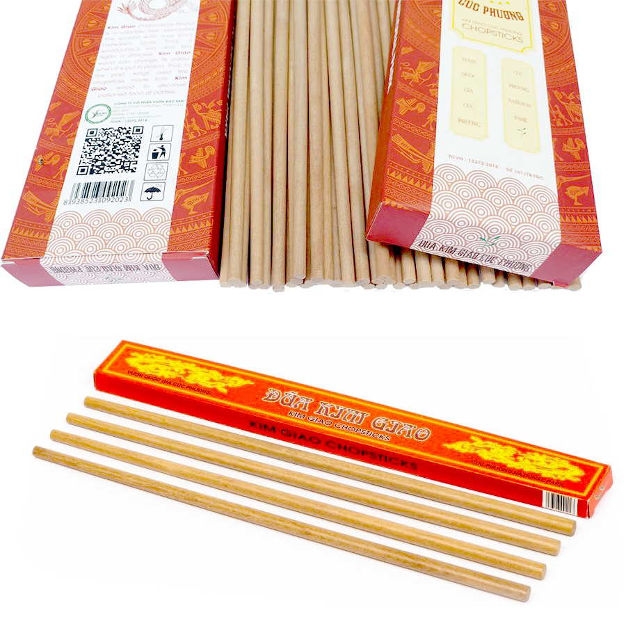 Hộp 20 đôi Đũa gỗ Kim Giao (Dài 27cm) 100% tự nhiên
