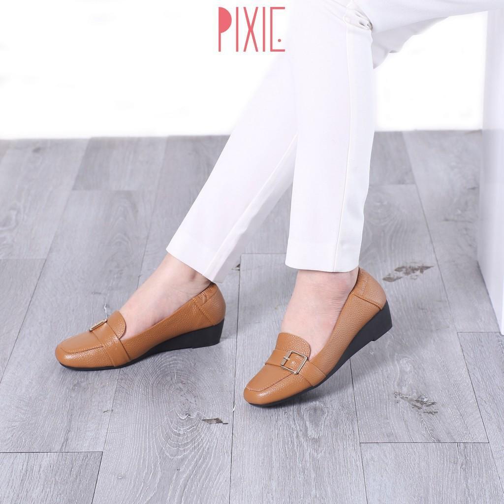 Giày Búp Bê Đế Xuồng Da Thật Gắn Khoá Pixie X596