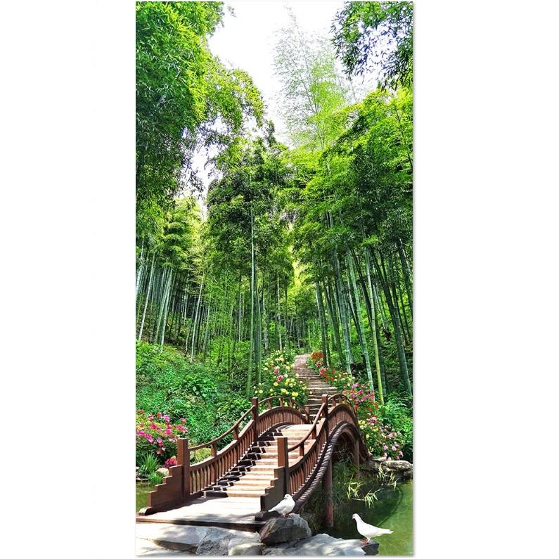 Decal trang trí cảnh đẹp thiên nhiên lối vào rừng trúc LV-0129