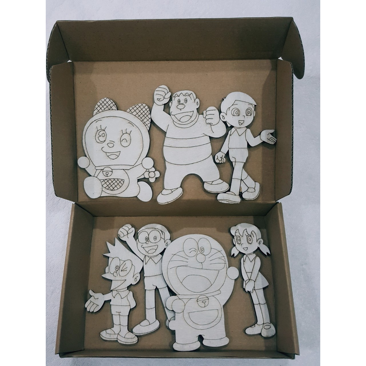 Bộ đồ chơi tô màu Doremon bằng gỗ, quà tặng cho bé sáng tạo (7 miếng)