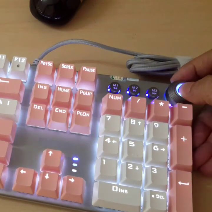 Bàn phím cơ Blue Switch PHILIPS SPK8614DQ siêu kute - kèm đế kê tay (Trắng hồng) HÀNG CHÍNH HÃNG