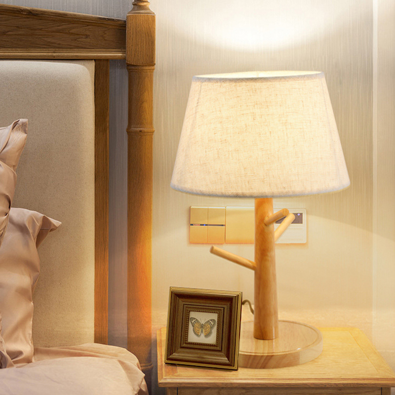 Đèn ngủ decor - đèn ngủ để bàn - đèn ngủ gỗ để đầu giường LACOCI cao cấp đã bao gồm bóng LED chuyên dụng