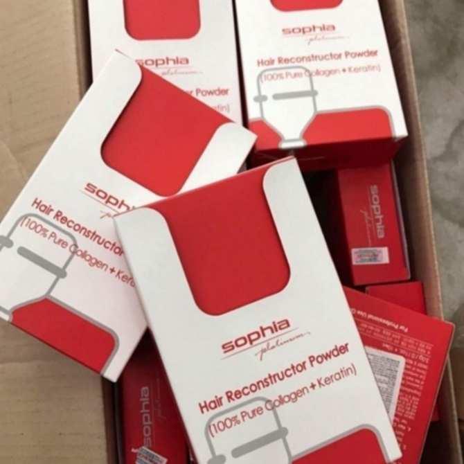 Bột collagen và Keratin Shophia phục hồi tóc hư nát (3x10g) tặng kèm móc khóa