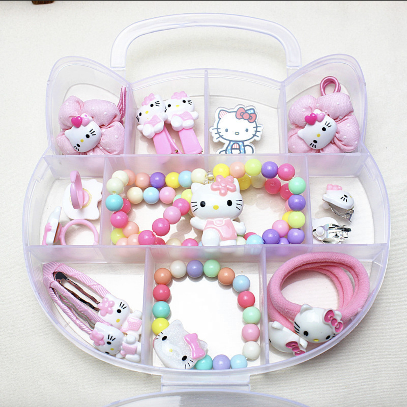 Hộp trang sức xinh xắn cho bé gái Hello Kitty nhiều màu hình đầu mèo - Combo 15 đôi