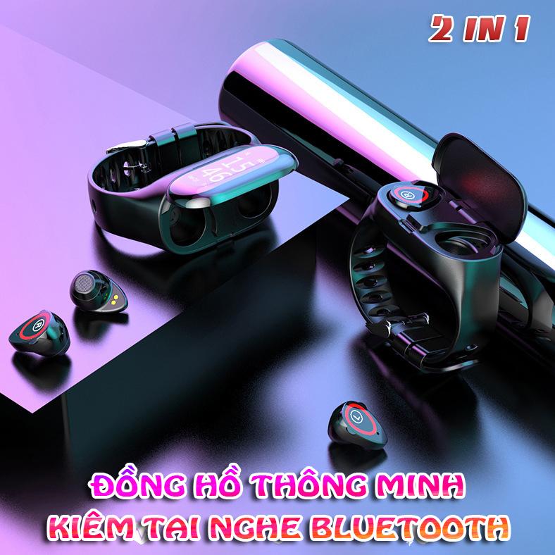 Tai Nghe Bluetooth kiêm Đồng Hồ Thông Minh Theo dõi Sức khỏe Vận động Kết hợp Nghe nhạc Đỉnh cao Model mới 2021 Hàng nhập khẩu