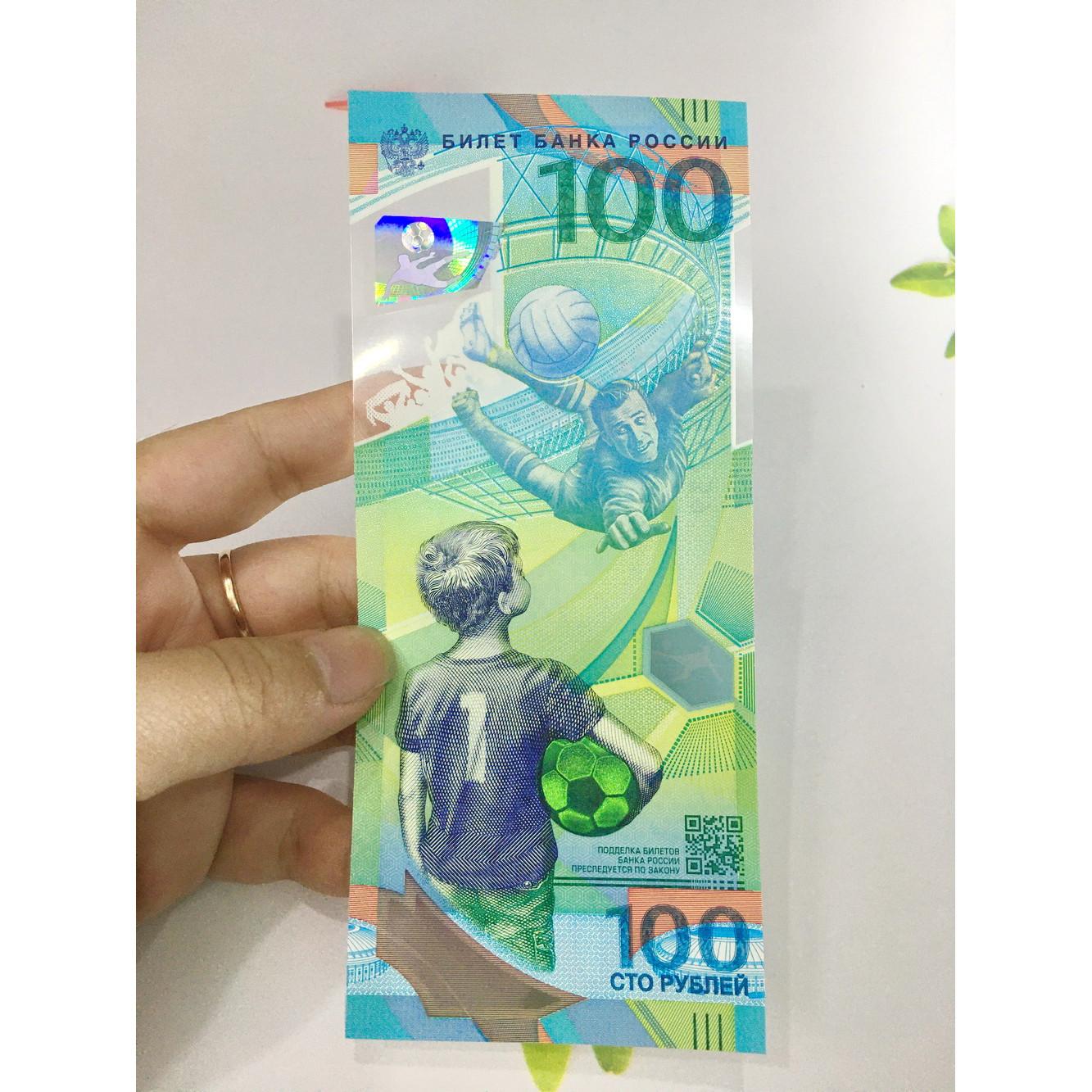 Tiền 100 Rúp của Nga kỷ niệm World Cup 2018, tiền polyme , tặng phơi nylon bảo quản tiền PCCB MINGT