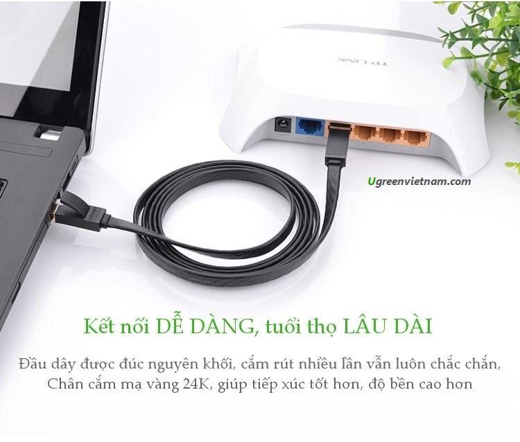 Dây mạng 2 đầu đúc Cat6 UTP dây dẹt dài 0.5m UGREEN NW104 11234 - Hàng chính hãng