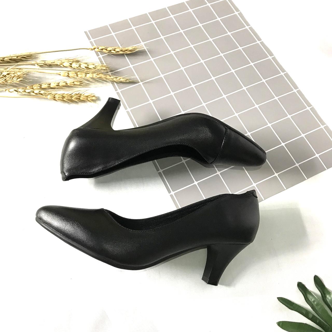 Giày cao gót nữ LUCACY họa tiết khâu mũi da bò cao cấp 5PKM