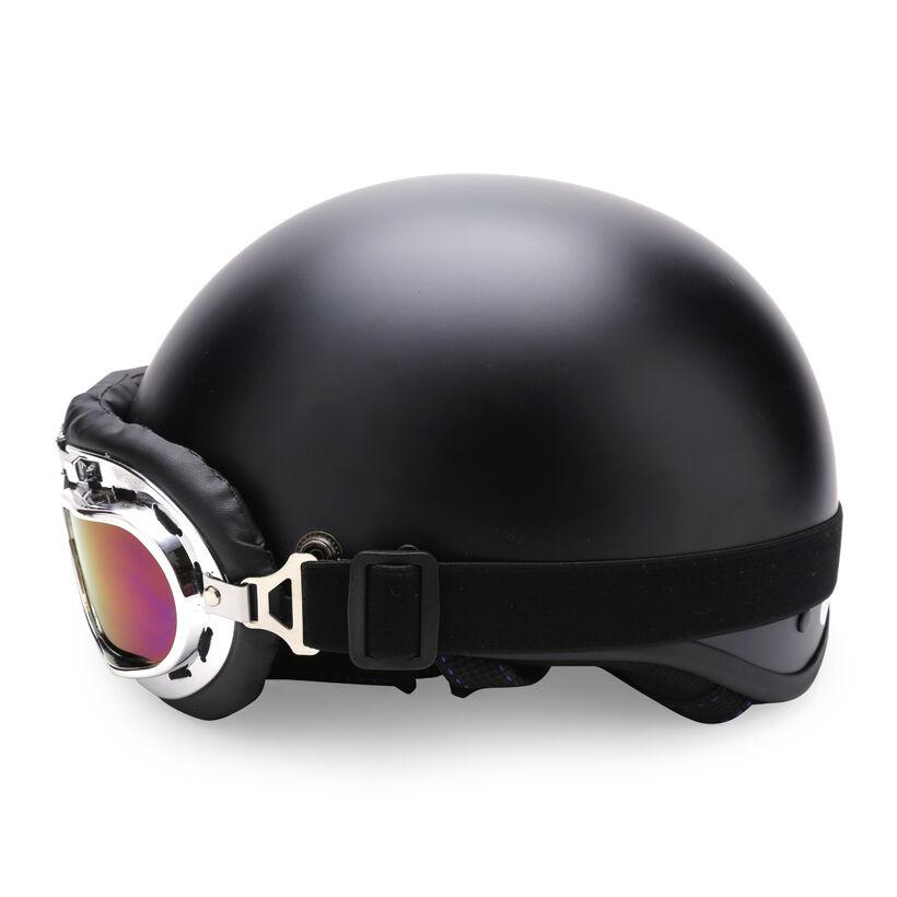 Combo mũ bảo hiểm đen trơn + kính phi công