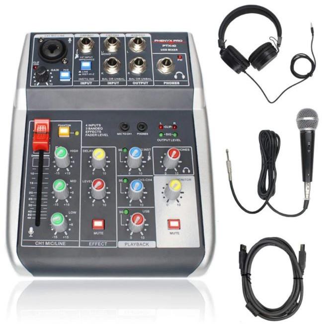 Bàn trọn âm thanh giao diện USB Phenyx Pro PTX-10B chính hãng với Micrô có dây, Tai nghe âm thanh nổi và cáp XLR