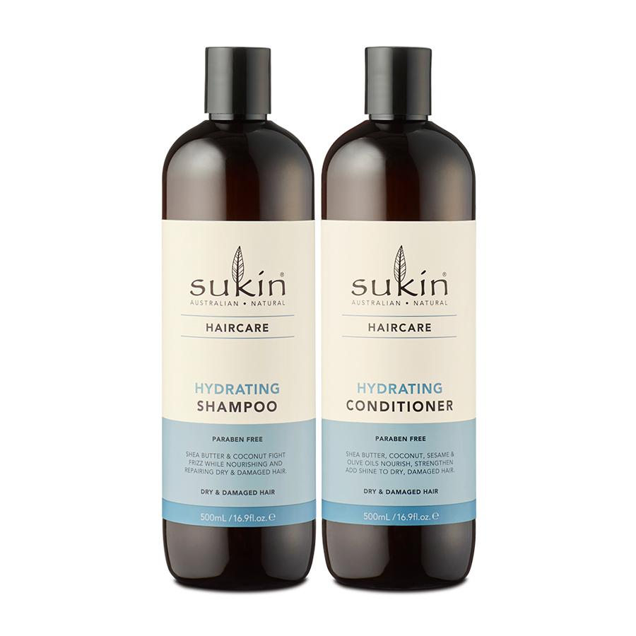 Combo Phục Hồi Tóc Hư Tổn Gãy Rụng Sukin Hydrating Shampoo 500ml & Sukin Hydrating Conditioner 500ml
