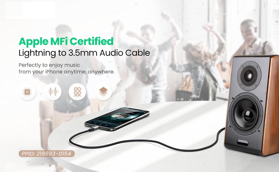 Dây chuyển đổi cổng Lightning sang 3.5mm kết nối iPhone với các thiết bị phát âm thanh dài 1m UGREEN US315 70509 - Hàng chính hãng