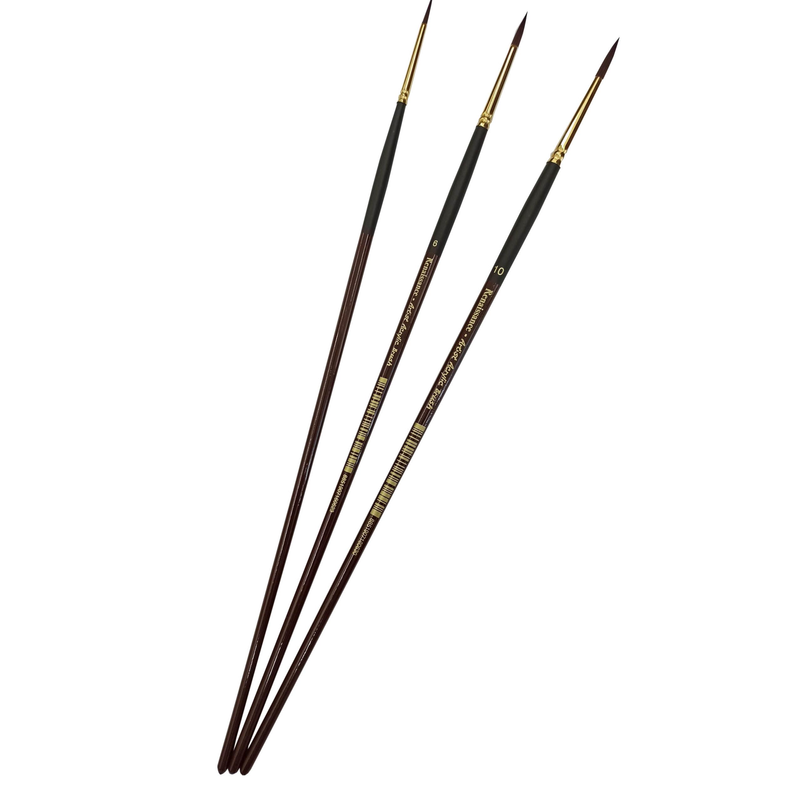 Bộ 3 cây bút cọ Acrylic tròn Renaissance cao cấp (2/6/10)