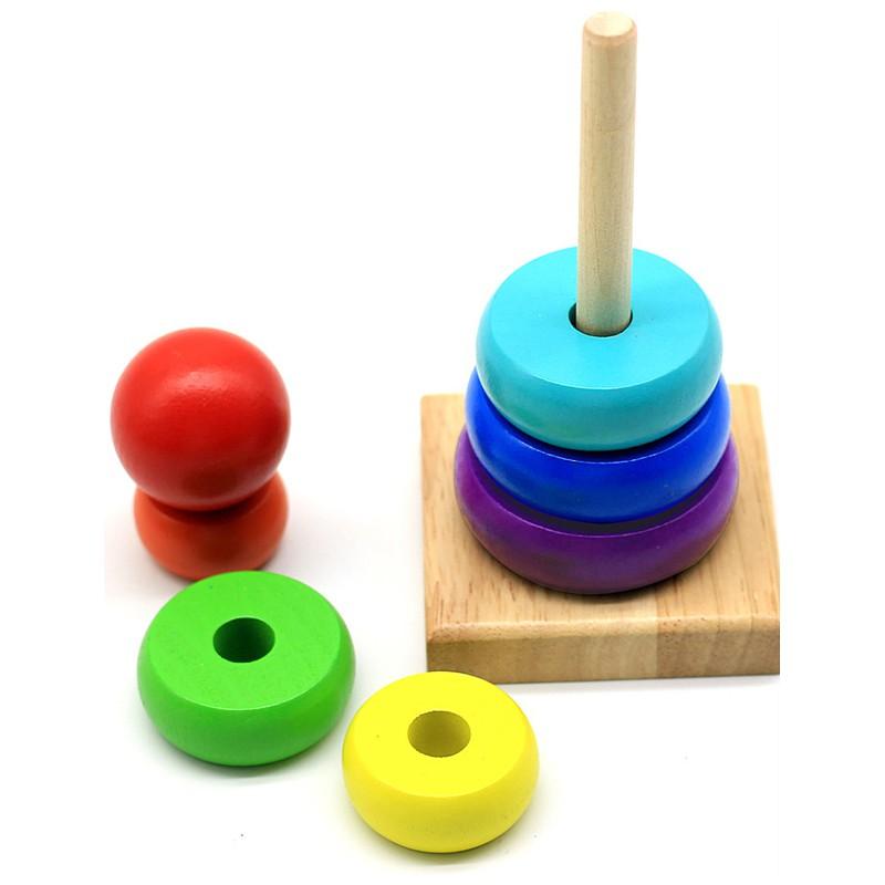 Đồ chơi gỗ - đồ chơi gỗ dễ thương ngộ nghĩnh và đầy màu sắc - tháp cầu vòng xếp chồng cho bé