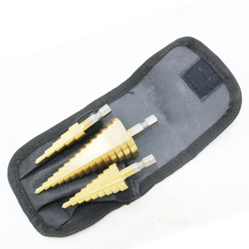 Bộ 3 mũi khoan bước tháp phủ titanium 4-32mm đa năng