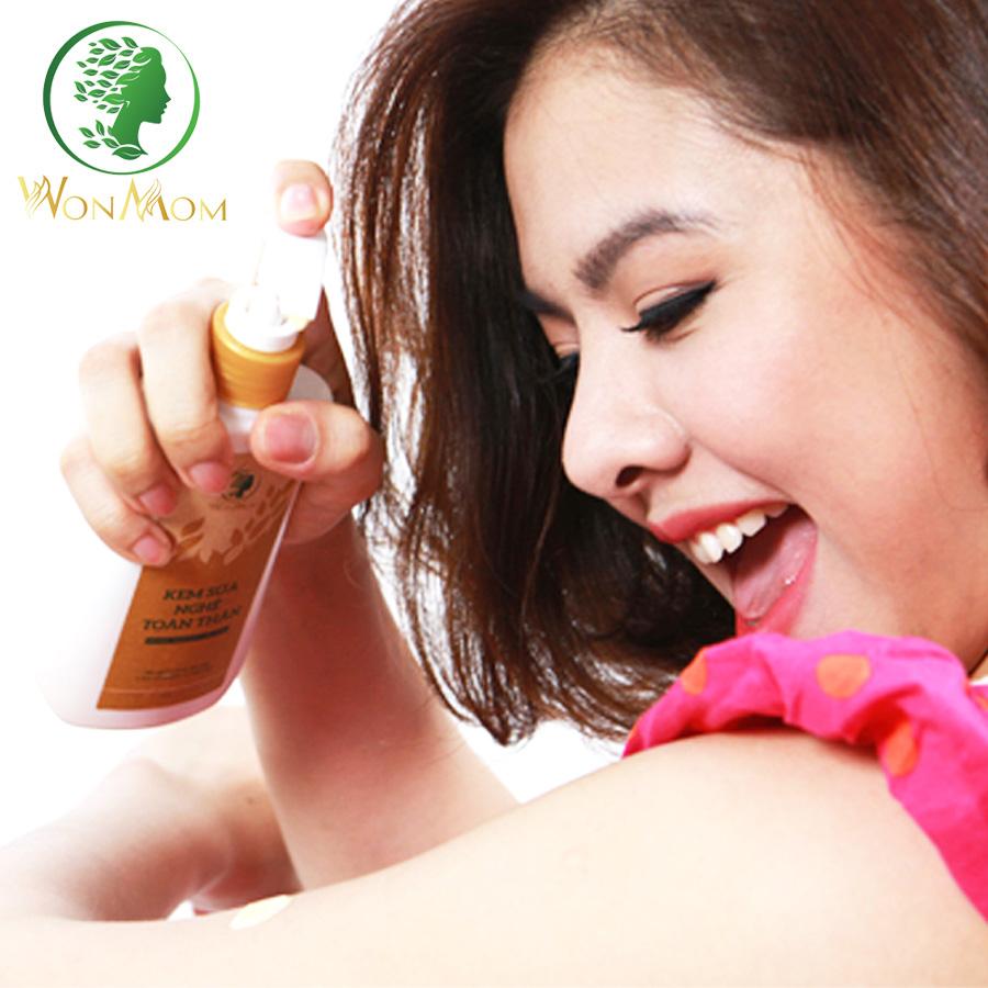 Bộ Dưỡng Trắng Hồng, Mịn Màng Da Toàn Thân Wonmom (1 Kem Sữa Nghệ + 1 Scrub Cafe Tẩy Tế Bào Chết Toàn Thân)