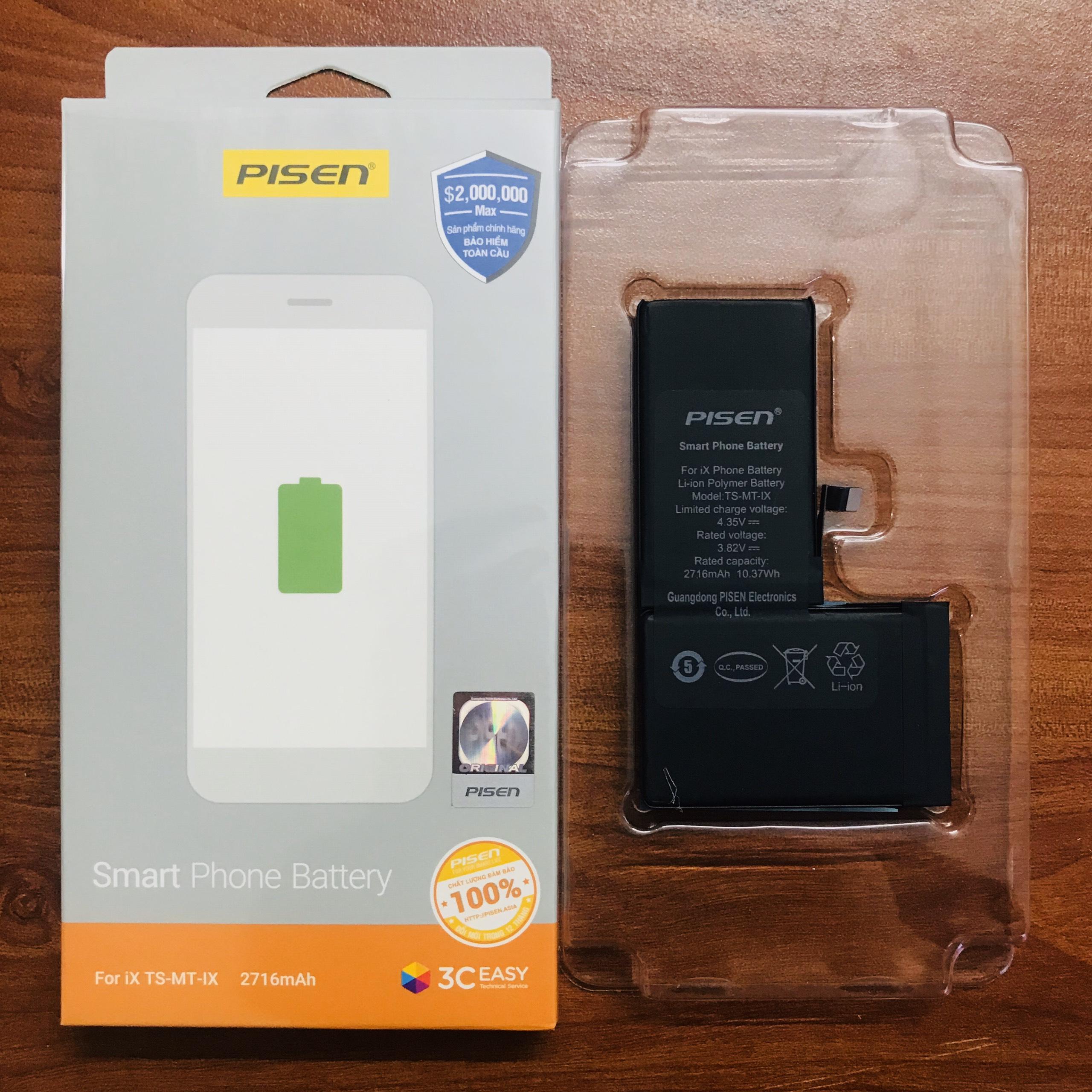 Pin điện thoại dành cho iPhone X Pisen _Hàng Chính Hãng - Pin Thay Thế