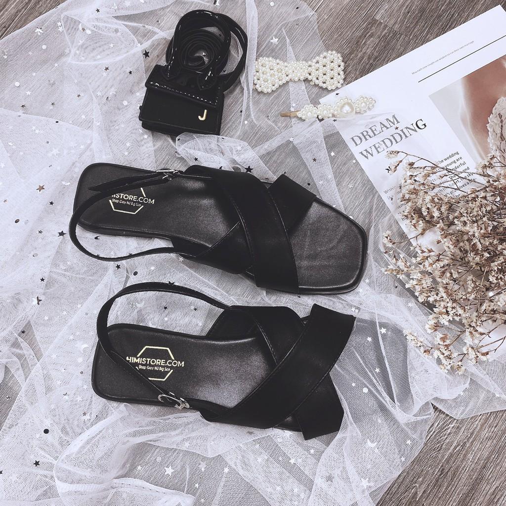Giày sandal big size bệt quai chéo phong cách màu đen Himi187  Himistore