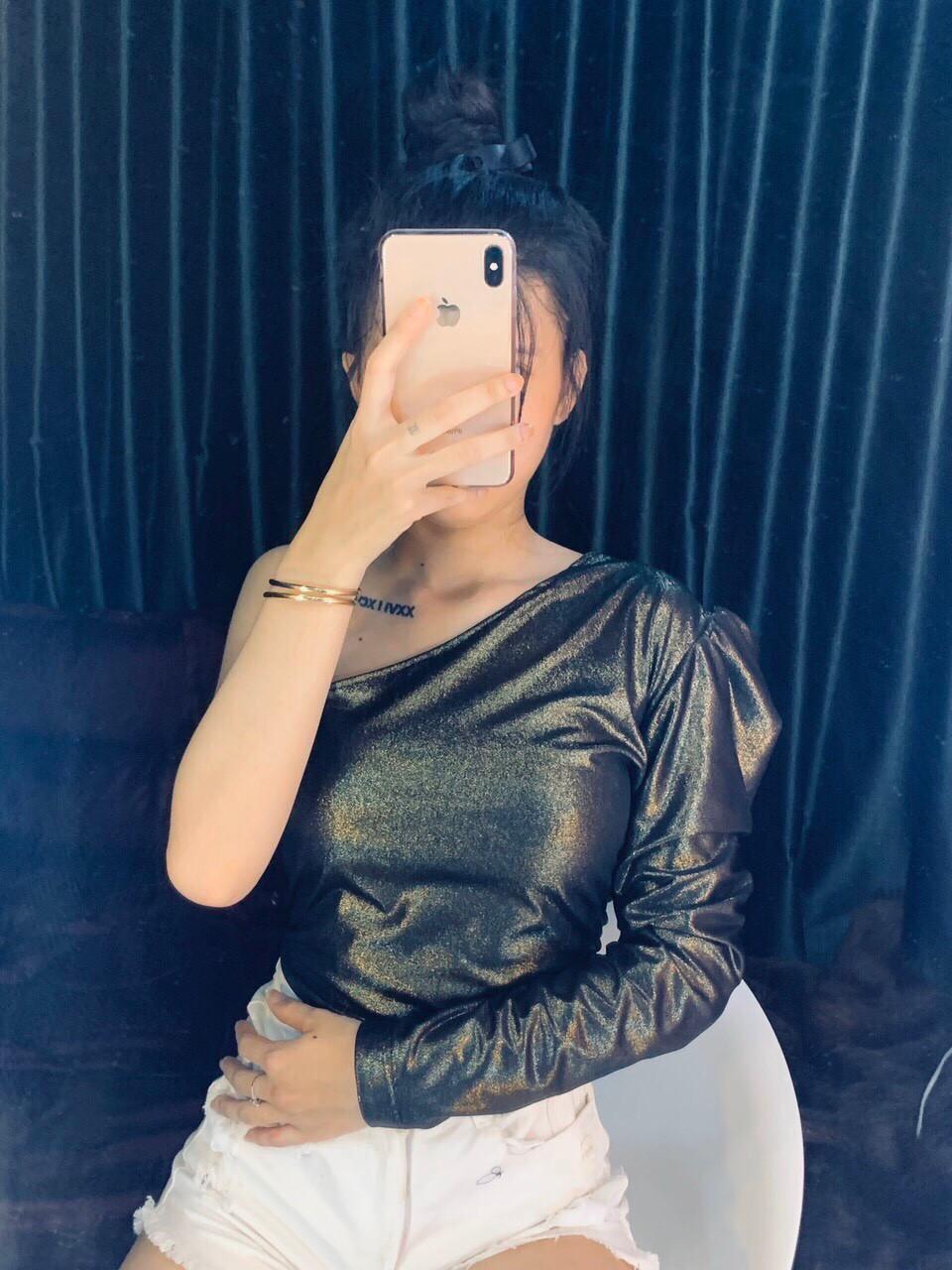 Áo nữ kiểu lệch vai 1 tay Dương Quá, Áo kiểu thời trang nữ, áo một tay màu mới ánh kim lạ mắt