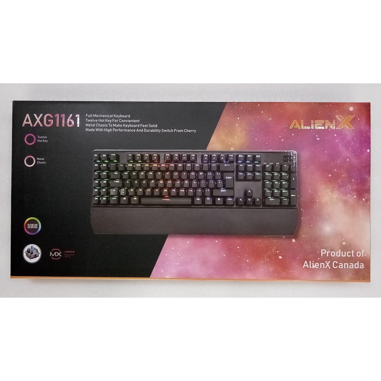 Bàn phím cơ gaming AlienX AXG1161 - Hàng Chính Hãng - Led RGB - Cherry Switch