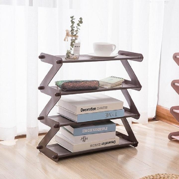 Kệ 4 tầng có thể gấp gọn, để sách, để dép hình chữ Z Kích thước : 47.5*46*19 cm
