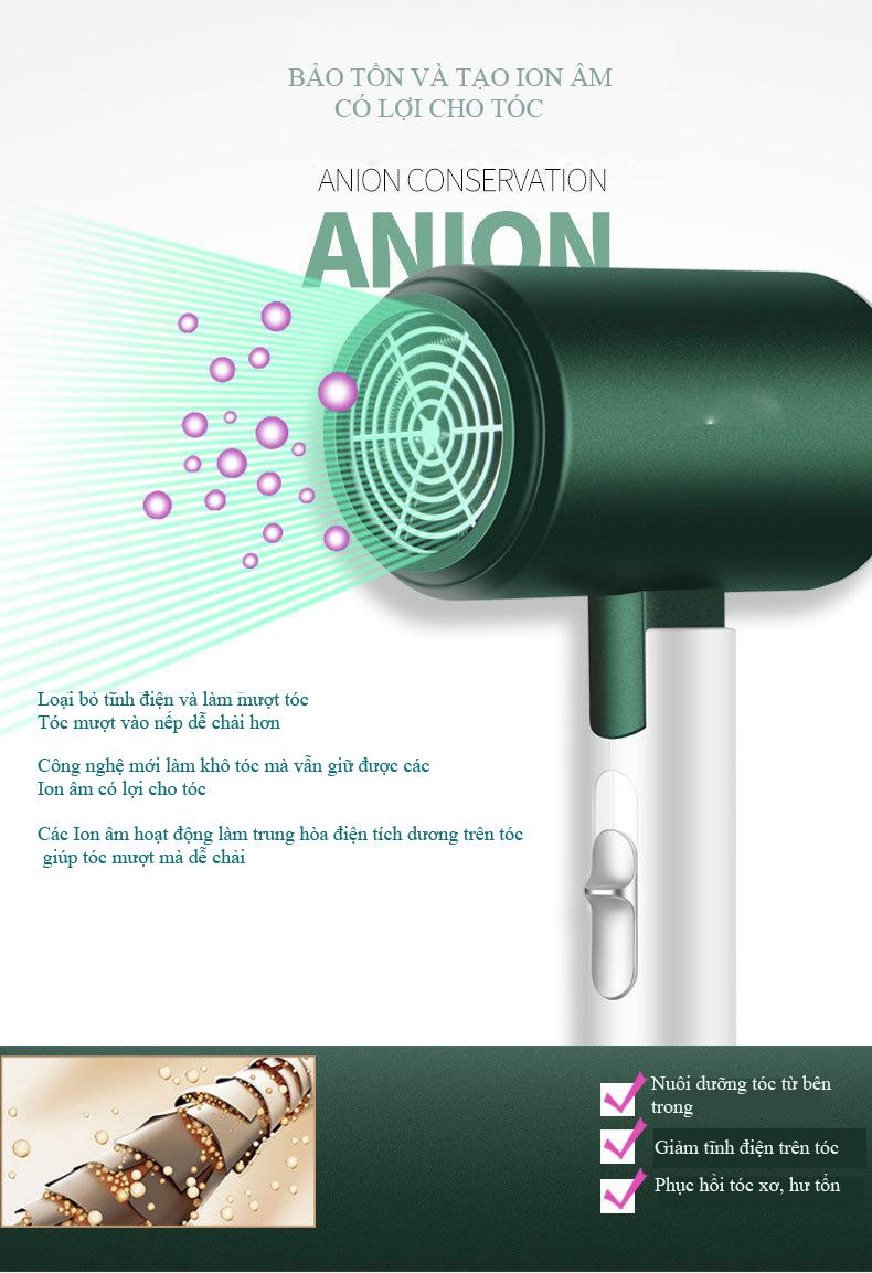 Máy sấy tóc tạo ion âm có lợi cho tóc,tay cầm có thể gấp lại được G21