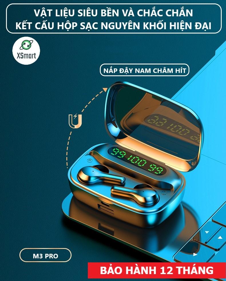 Tai nghe bluetooth không dây phiên bản mới XSmart TWS R3 PREMIUM cho điện thoại, máy tính bảng, có màn hình led, chống ồn - Hàng Chính Hãng
